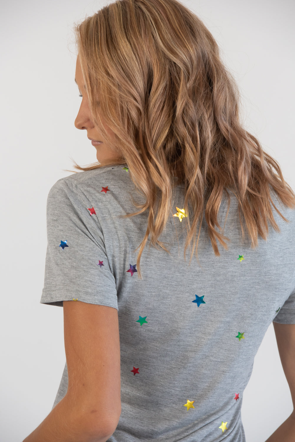 Heather Grey Multi Rainbow Star Tee