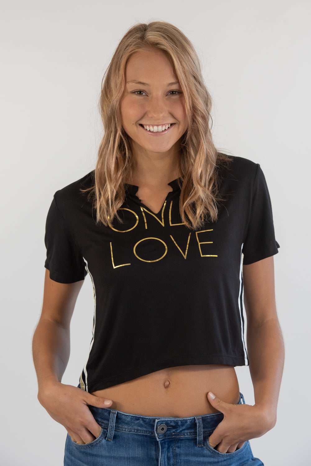 Only Love Black Cropped Tee