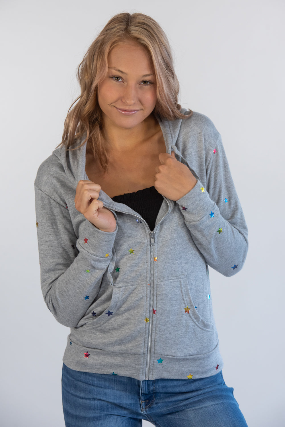 Heather Grey Multi Rainbow Star Jacket
