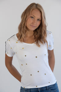 White Gold Star Tee W/ Taping