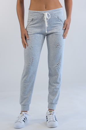 Heather Grey Distressed Sweats