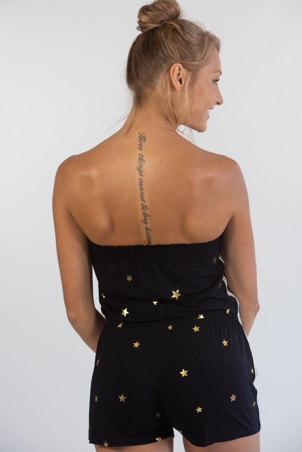 Black Romper w/ Gold Stars
