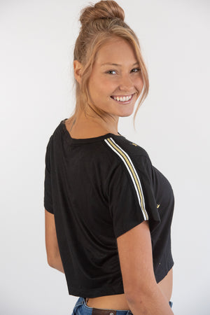 Black Cropped Tee w/ Gold Stars