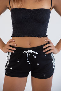 Black Running Shorts W/ Silver Stars