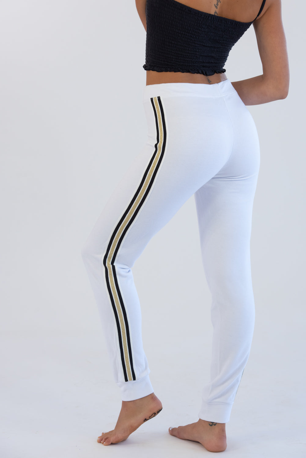 White Sweats W/ Gold Taping