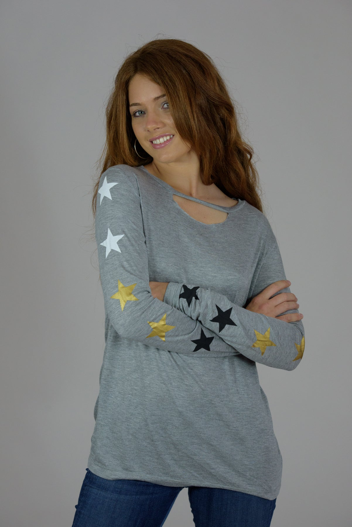 Heather Grey Cutout Long Sleeve Stars Tee