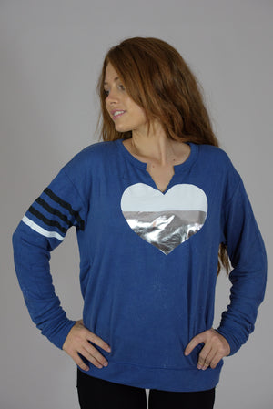 Vintage Washed Blue V-Cut Silver Heart and Printed Stripes Sweatshirt