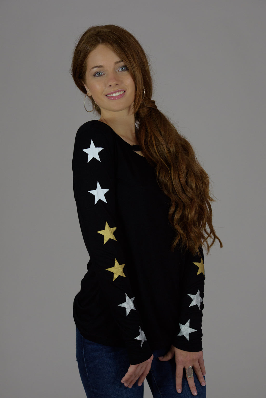 Black Cutout Long Sleeve Multi Stars Tee