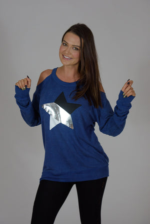 Vintage Washed Blue Cold Shoulder Multi-Colored Star Sweatshirt