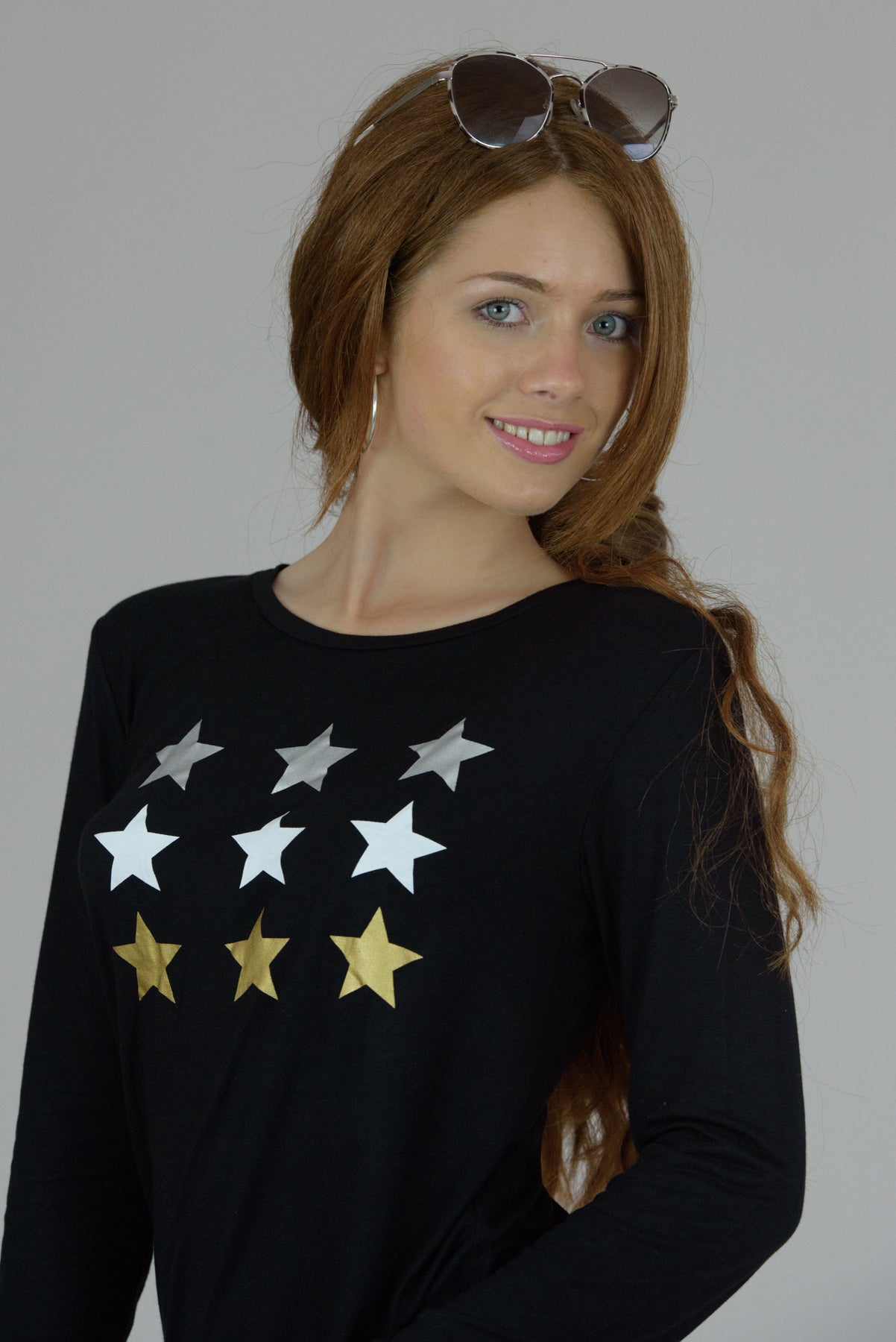 Black Long Sleeve Multi Stars Tee