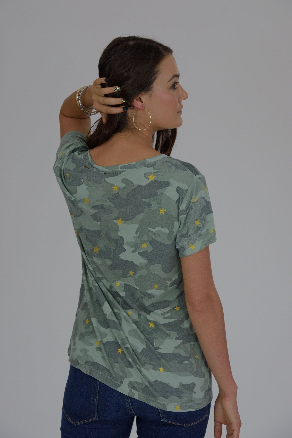 Camo Distressed Gold Stars Tee