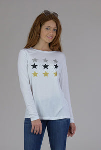White Long Sleeve Multi Stars Tee