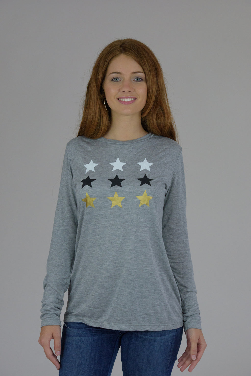 Heather Grey Long Sleeve Multi Stars Tee