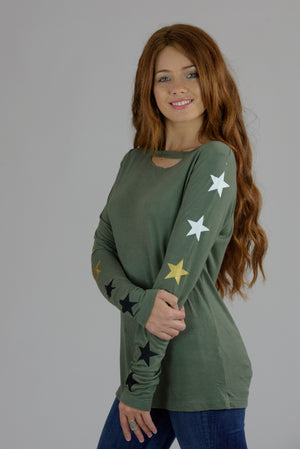 Army Cutout Long Sleeve Multi Stars Tee