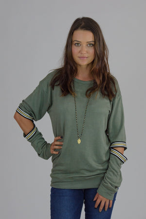 Army Sweatshirt w/ Elbow Taping Cutouts