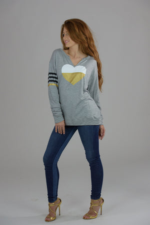 Heather Grey V-Cut Gold Heart and Printed Stripes Sweatshirt