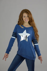 Vintage Washed Blue Distressed Silver Star and Printed Stripes Sweatshirt