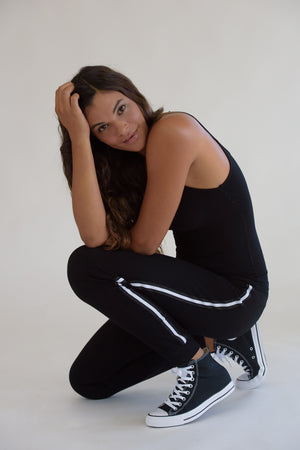 Black Sweatpants w/ Black and White Taping