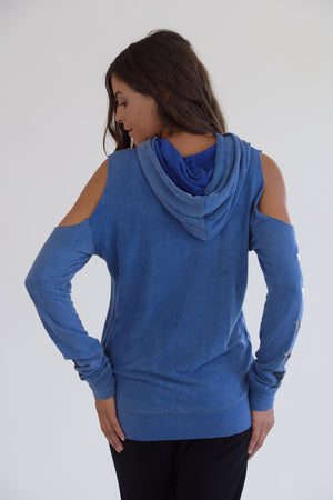 Vintage Washed Blue Cold Shoulder Multi Star Hoodie