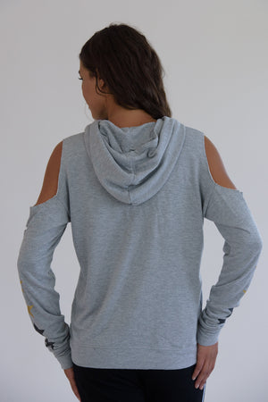 Heather Grey Cold Shoulder Multi Star Hoodie