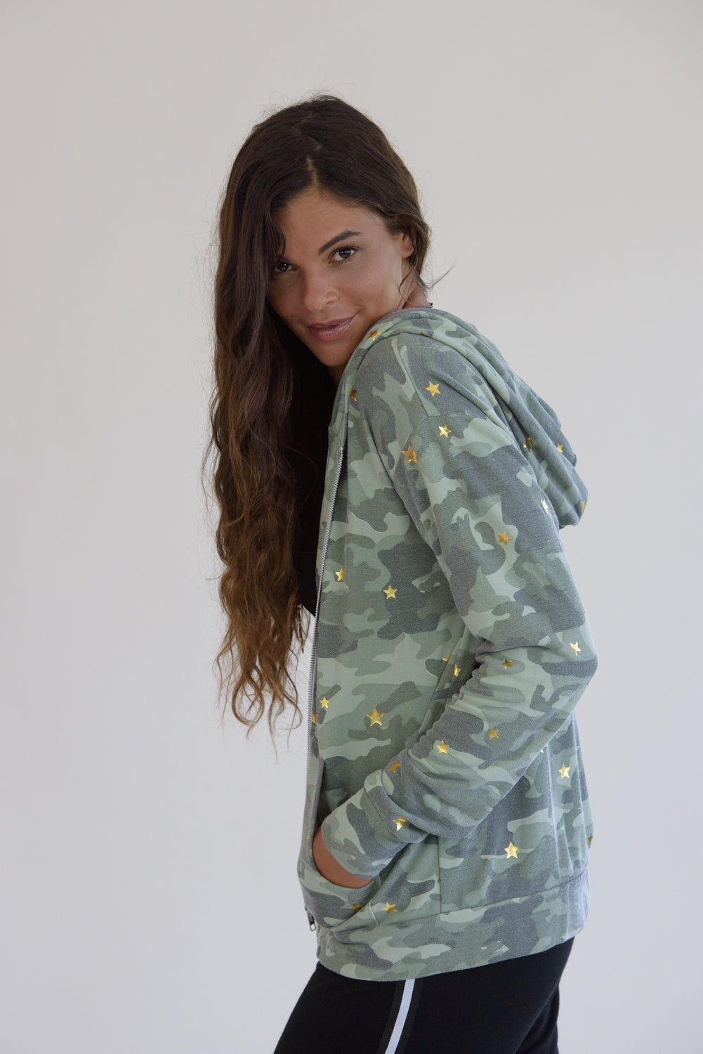 Vintage Washed Camo Gold Stars Jacket