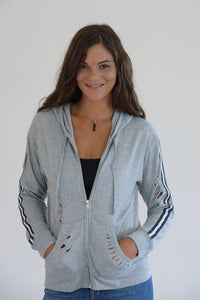 Heather Grey Distressed Black and White Taping Jacket