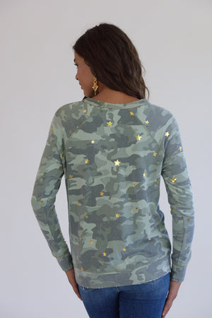 Camo Distressed Gold Stars Sweatshirt