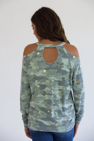 Camo Cold Shoulder Gold Stars Sweatshirt