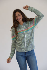 Vintage Washed Camo Rainbow Jacket