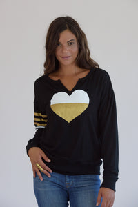 Black V-Cut Gold Heart and Printed Stripes Sweatshirt