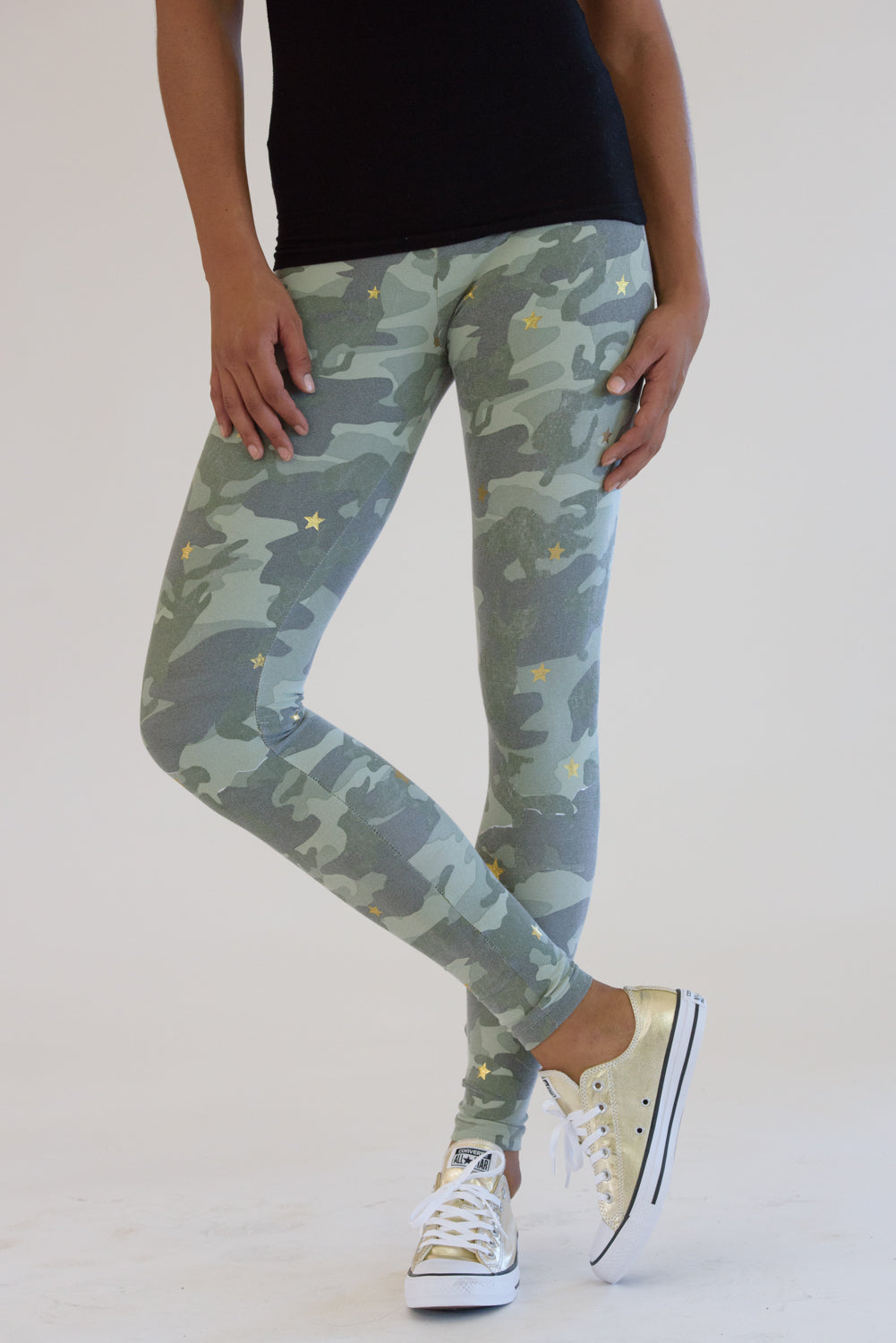 Vintage Washed Camo Leggings w/ Gold Stars