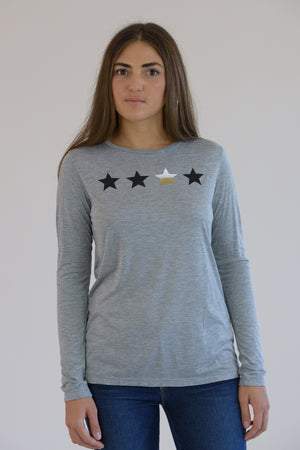 Heather Grey Long Sleeve 4 Stars Tee