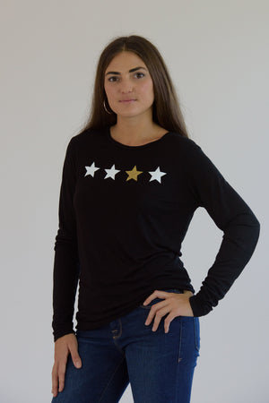 Black Long Sleeve 4 Stars Tee