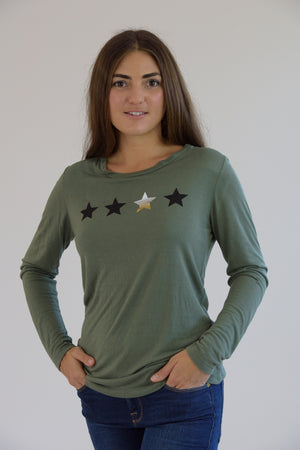 Army Long Sleeve 4 Stars Tee