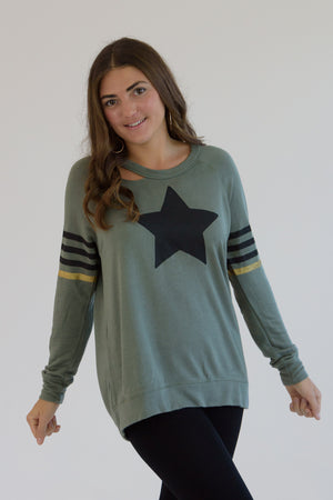 Army Distressed Black Star and Printed Stripes Sweatshirt