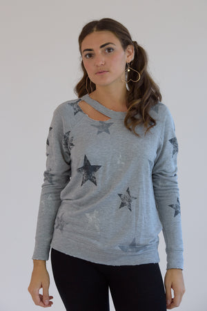 Heather Grey Distressed Stars Sweatshirt