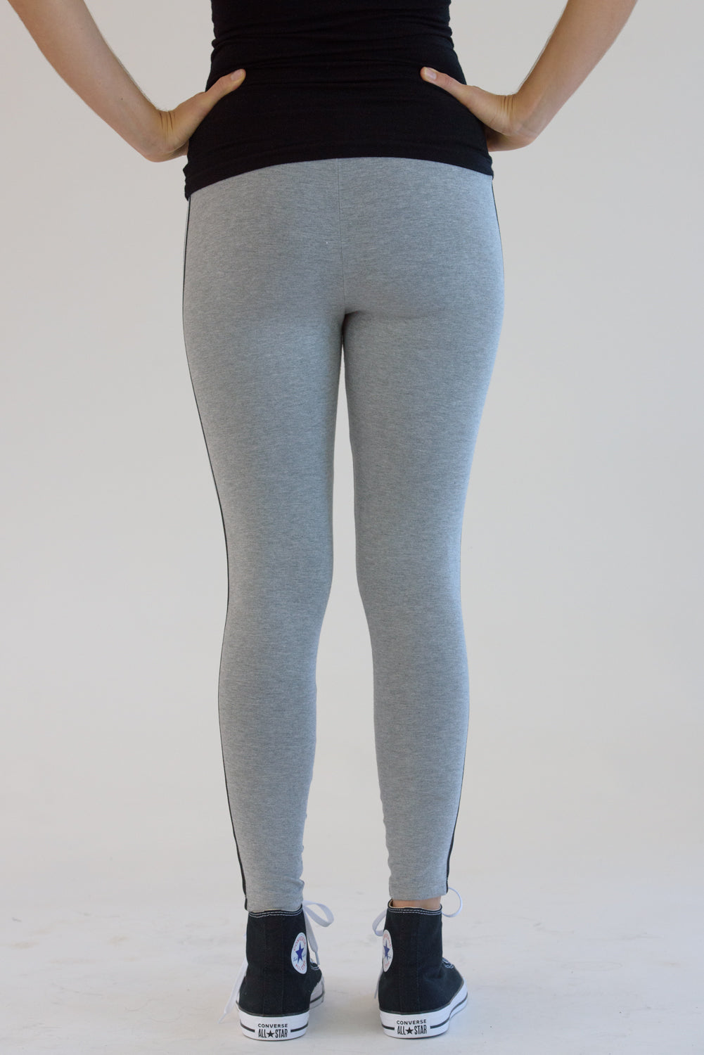 Heather Grey Leggings w/ Black and White Taping