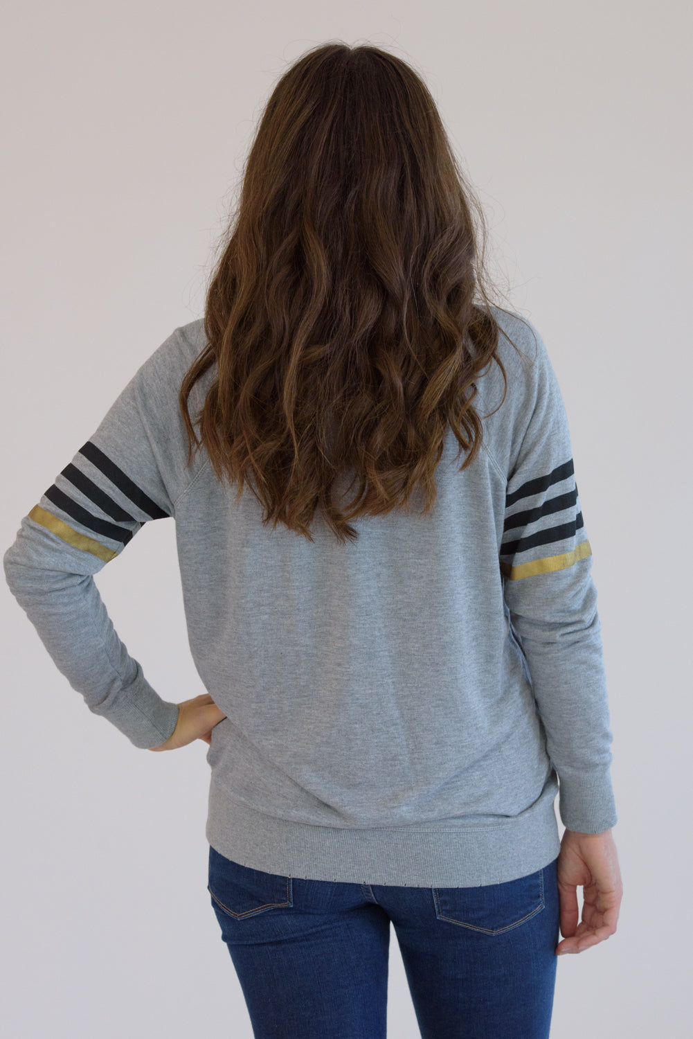 Heather Grey Distressed Black Star and Printed Stripes Sweatshirt