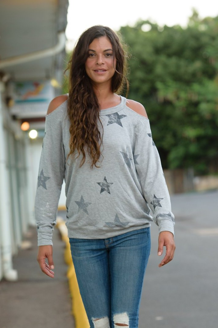 Heather Grey Cold Shoulder Stars Sweatshirt