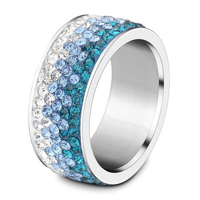 6/7/8/9# different Color Line Crystal Fashion Jewelry Ring Wholesale Fashion Stainless Steel Ring for women