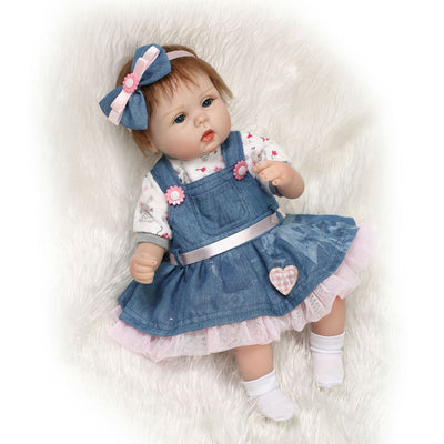 NPK Latest new 43cm Silicone Reborn Boneca Realista Fashion Baby Dolls For Princess Children Birthday Gift Bebes Reborn Dolls