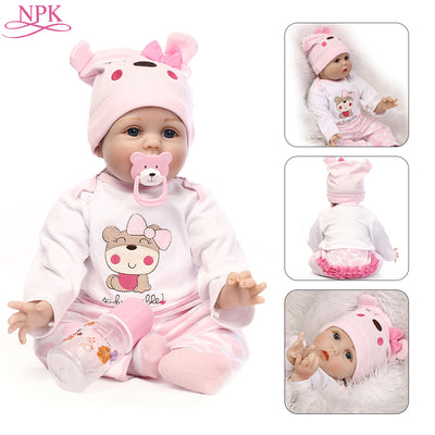 NPK Doll Reborn 55CM Soft Silicone Reborn Baby Dolls Vinyl Toys Big Dolls For Girls 3-7 Years Old Baby Dolls With Blouse Cloth