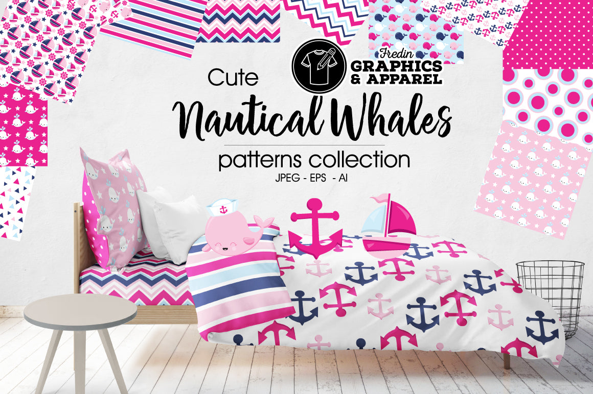Nautical Whales 2 Patterned HTV
