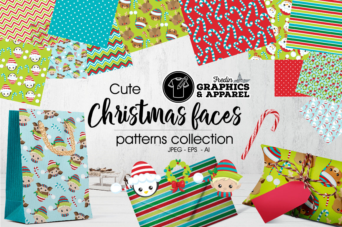 Christmas Faces Patterned HTV
