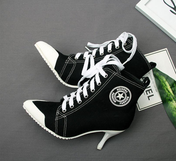 Women's Canvas Shoes Boots Converse High Heels 8.5CM Ankle Boots
