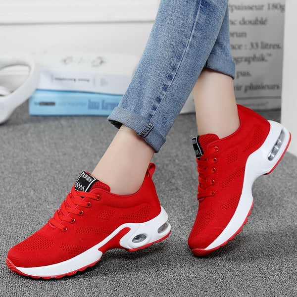 2019 Fashion Korean Black Red Women Sneakers Platform Breathable Mesh White Trainers Damping Casual Shoes Woman Tenis Feminino