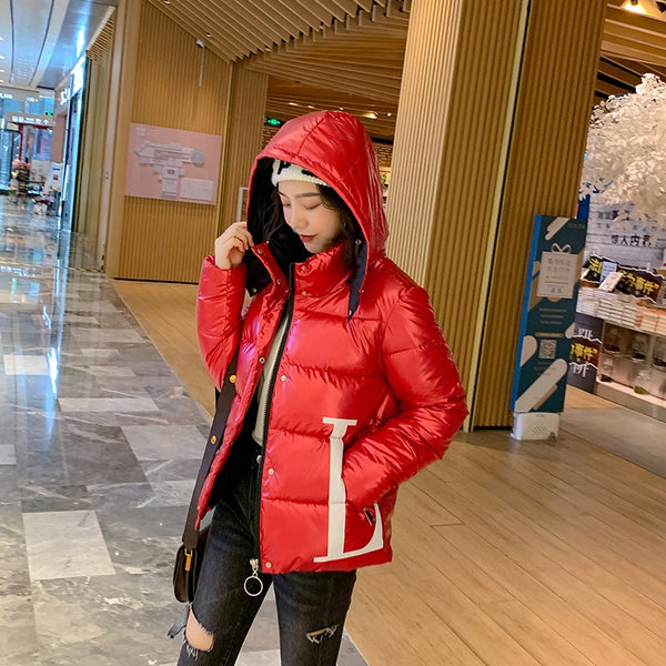 2019 New Fashion Glossy Womens Winter Jacket Coat Short Warm Cotton Padded Jacket Thick Ladies Coat Letter Parka Womens Jackets