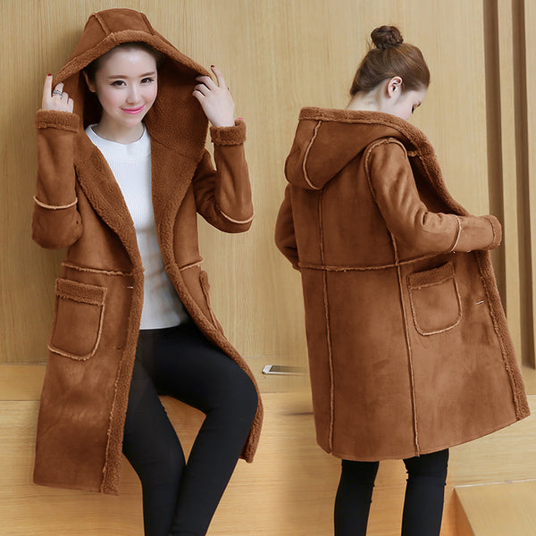 2019 New Winter Suede Leather Jackets Women's Lambs Wool Coats Long Thick Warm Hooded Jacket Female Outerwear Woolen Overcoats