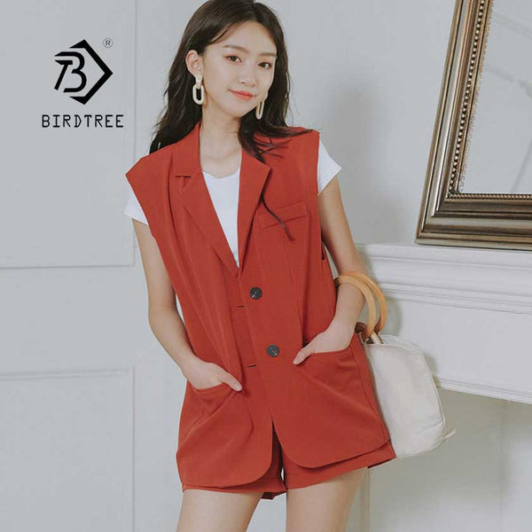 2019  Shorts Suit Women's Pant Suits Solid Chic Summer Casual 2 Pieces Set Female Single-breasted Vest Jacket Hot Sale S95614Z