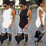 2019 Women Fashion Summer Casual Loose Tank Tops Vest Blouse Sleeveless Crop Shirt Sexy Slim Solid Backless Lady Vest Shirt